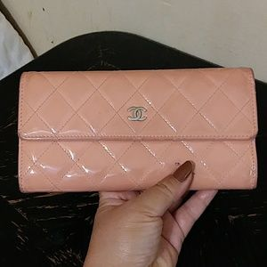 Authentic Chanel quilted patent leather wallet